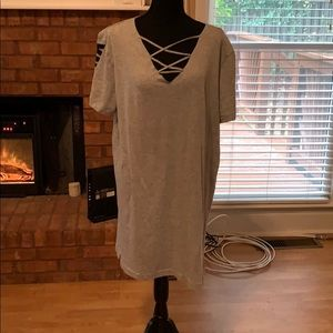 T-shirt dress with laced neckline
